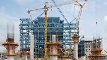 Termoelektrana Stanari, Doboj, Bosna i Hercegovina - ukupno 9 kružnih stupova promjera 3,60 m i debljine zida 40 cm kasnije će nositi čelični podest za kondenzator.