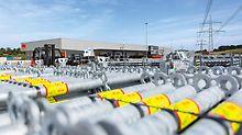 Die neue Produktionsstätte in Günzburg, Deutschland, ist das neue, hochmoderne Leitwerk für Gerüstsysteme. Zusätzlich vergrößert PERI die Freilagerfläche am Stammsitz in Weißenhorn mit 20.000 m².