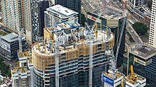 Barangaroo South, Sydney - Die LPS Schutzwandeinheiten sind bis zu 18,50 m hoch und klettern mittels mobiler Kletterhydraulik ohne Kran zur jeweils nächsten Etage.