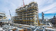 At BASF's largest current investment project, an innovative scaffolding concept based on the PERI UP Flex scaffolding system has been saving both time and money - and has also set high standards regarding work safety.