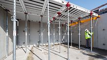 Compensation panels that can be mounted from below, a longitudinal beam for a prop arrangement of 2.00 m x 2.00 m and system components for the construction of 4,00 m x 6,00 m slab tables complement the system.