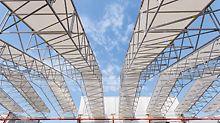 90 m lange Schutzdachkonstruktion