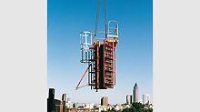 Die neue Lösung für Säulen bedeutet für die  Baustelle enorme Kranzeiteinsparungen, denn mit nur einem Hub wird die komplette Säule inklusive Richtstützen und Betonierbühne umgesetzt.