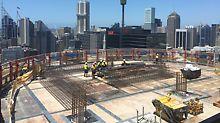 International Towers Sydney ITS, Barangaroo South, Sydney: Pro zajištění a urychlení stavebních prací bylo na třech výškových budovách nasazeno více než 700 bm opláštění LPS.
