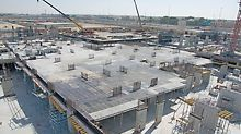 Part of the 80,000 sqm slab to be poured using PERI SKYDECK, the lightweight slab formwork.