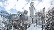 De werk- en veiligheidsstellingen van PERI UP Flex zijn flexibel door het 25-cm-gridsysteem en zijn ideaal voor de omstandigheden bij Slot Neuschwanstein.