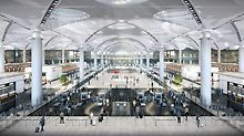 Istanbul Airport can accommodate 90 million passengers annually. A total of 13 different building contractors contributed to the completion using PERI systems. (Photo: İGA Havalimanları İnşaatı Adi Ortaklığı Ticari İşletmesi)