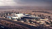 Podle návrhu známé architektky Zahy Hadid vzniká nové sídlo společnosti Bee'ah, zabývající se životním prostředím. Futuristická stavba s kompletním tvarem budovy byla navržena podle písečných dun. (zdroj: www.zaha-hadid.com)
