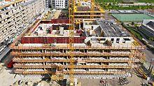 Der Wohnkomplex am Wiener Nordbahnhof, Österreich verfügt über insgesamt 182Wohnungen. Dank PERI MAXIMO konnte der Rohbau in der äußerst knapp bemessenen Zeit von nur 10Monaten fertiggestellt werden.