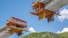 Levá, pravá i prostřední část mostovky byly rozděleny každá do 64 betonářských záběrů a prováděny současně s celkem čtyřmi vozíky pro letmou betonáž VBC.