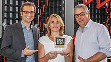 Product Manager, Helmut Baechle (PERI Weissenhorn), Marketing Coordinator, Stéphanie Derouet, and the Manager of the Technical Office Thierry Chancibot (both PERI France) are highly delighted with the prize.