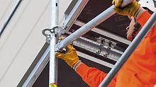 Aufbauschnelligkeit eines Rahmengerüstes mit der Flexibilität eines Modulgerüstes: Konstruktive Basis von PERI UP Easy ist der offene Rahmen mit dem integrierten Gerüst-Knoten, der auch die Kombination mit den Systembauteilen des Modulgerüsts PERI UP Flex erlaubt.