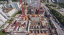 """Luftaufnahme der Baustelle im Stadtquartier am Hirschgarten, MK 4 """"Friends"""", München"""