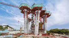 On the basis of the RCS Rail Climbing System, the inclined circular columns could be efficiently constructed.