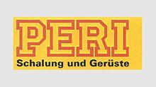 """PERI logo se přizpůsobuje: slova """"bednění a lešení"""" se jasně odrážejí na žlutém pozadí a připomínají tak první černo-žluté logo PERI."""