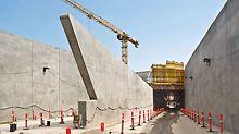 Tunel Nordhavnsvej - zidovi ulaza u tunel odlikuju se posebnom formom. Ova se područja montiraju zidnom oplatom s nosačima projektiranom prema specifičnostima projekta, primjenjuju se nosači oplate GT 24 u specijalnim dužinama.