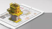Mit der PERI Extended Experience App können 3D-Visualisierungen von Bauprojekten auch auf mobilen Geräten ausgegeben werden.