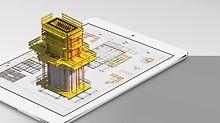 Avec l'application PERI Extended Experience App, des visualisations 3D de projets de construction peuvent également être réalisées avec des appareils mobiles.