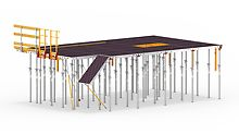 The principle of the innovative SKYMAX formwork solution is based on compatible components made of different materials. This creates a type of modular system that facilites flexible solutions depending on project requirements. The panel slab formwork can be completely assembled from the level below while the components can also be used for assembling slab tables. (Graphic: PERI GmbH)