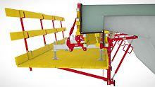 Für die Herstellung der neuen Gesimskappe wird die Arbeitskonsole mit der Schalung komplettiert.
