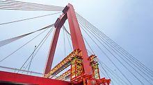 VRB Rüstbinder und VST Schwerlasttürme, Bestandteile des VARIOKIT Ingenieurbaukastens von PERI, dienen zur Abtragung der hohen Lasten in die Pylonfundamente.