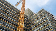 New system components have been created for the PERI UP modular system – consisting of PERI UP Easy Facade Scaffolding and PERI UP Flex modular scaffolding. At PERI, for scaffolding technology this also applies: the widest possible range of applications with the lowest possible number of components (Photo: PERI GmbH)