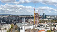View of the Frankfurt skyline. With a height of around 140 m, the new Henninger Turm is one of the landmarks of Frankfurt.