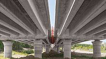 Motorway bridge over the Drava, Osijek, Croatia - The precast beams of the foreland bridges are supported on 180 cm thick circular columns complete with mushroom shaped heads.