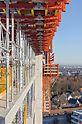 Zur Herstellung des Gebäudekerns bildeten CB Kletterbühnen und die TRIO Rahmenschalung kranbare Kletterschalungseinheiten.