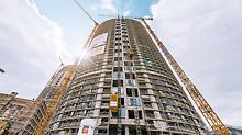The large-scale project, SKY PARK, is the new cultural epicentre of Bratislava – in addition to customised scaffolding solutions, PERI made use of the RCS rail climbing system in combination with VARIO GT 24 girder wall formwork during the erection of the residential complexes. (Photo: Penta Real Estate)