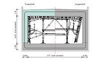 Technische Zeichnung der tragfähigen Systemlösung zum Schalen von einhäuptigen Wänden mithilfe der VARIOKIT Schalwagenkonstruktion