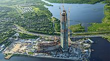 With its very impressive architecture, the Lakhta Center, a futuristic building complex designed by Tony Kettle, is the new highlight of Saint Petersburg, Russia. With a height of 462 m it is the tallest building in Europe. PERI provided support from formwork solutions for the record-breaking foundations through to complex shoring arrangements. Med sin imponerende arkitektur, er Lakhta Center det nye blikkfanget i St. Petersburg. Med høyde på 462 m er det den høyeste bygning i Europa. PERI leverte løsning til forskalingen for det rekordstore fundamentet gjennom en kompleks understøttelsesløsning.
