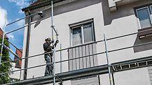 Systemintegrierte Sicherheit - Durch die vorlaufende Geländermontage beim Aufbau ist die Absturzsicherheit direkt in das Gerüstsystem integriert. Deshalb kann beim Regelaufbau auf eine zusätzliche Absturzsicherung verzichtet werden.