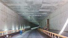Der Blick aus Richtung Norden in Richtung der bereits fertiggestellten, südlichen Tunneleinfahrt.