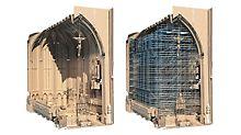 Interiorul a fost măsurat fără planuri construite, folosind scanarea laser 3D, iar acest lucru a fost transferat într-un model de clădire 3D - oferind baza pentru planificarea schelei cu CAD PERI.