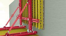Das solide Konsolsystem für ein- und zweihäuptige Anwendungen. Anwendung als einhäuptige Kletterschalung.