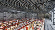 Die etwa 400 m² große Arbeitsplattform war oben als räumliches PERI UP Flex Gerüst ausgebildet, im Verkaufsraum darunter wurden lediglich 22 MULTIPROP Stützen benötigt – geometrisch angepasst an die örtlichen Gegebenheiten.