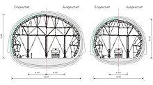 Technici PERI připravili konstrukci bednicího vozu ze stavebnice VARIOKIT. Se stejnými systémovými díly a bednicími panely mohou být hospodárně realizovány obě varianty průřezů stanice metra.