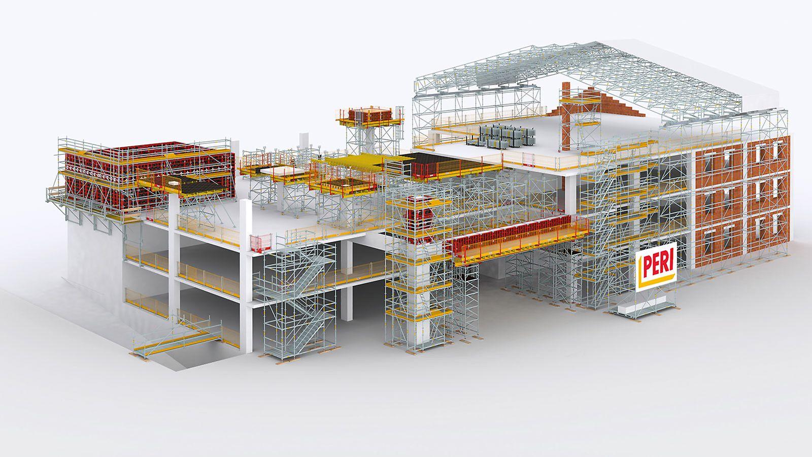 Échafaudages PERI UP pour le bâtiment - Le système d'échafaudage à l'utilisation flexible sur le chantier